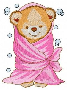 Teddy bear with bath towel embroidery design