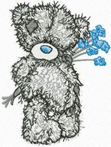 Teddy Bear with blue flower embroidery design