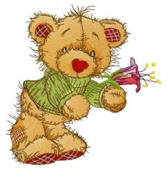Teddy bear with campanula embroidery design