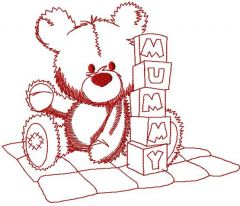 Teddy Bear with cubes embroidery design