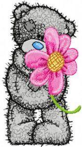 Teddy Bear likes flowers embroidery design