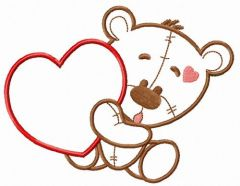 Teddy bear with huge heart applique embroidery design