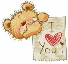 Teddy bear with I LOVE YOU board 2 embroidery design