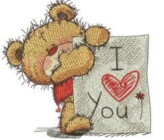 Teddy bear with I LOVE YOU board embroidery design