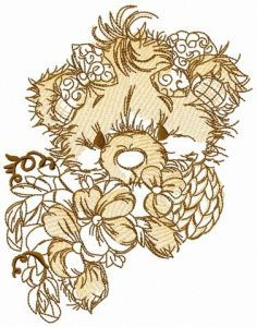 Teddy bear with pansies sketch embroidery design