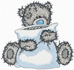 Teddy Bear with a pillow embroidery design