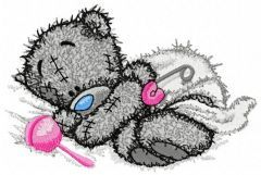Teddy Bear with rattle embroidery design