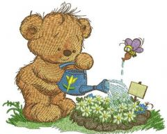 Teddy bear with watering can 5 embroidery design