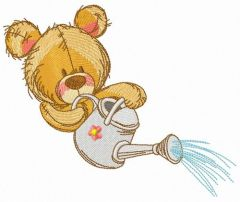 Teddy bear with watering can embroidery design 11