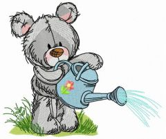 Teddy bear with watering can 8 embroidery design