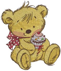 Teddy bear with cupcake 2 embroidery design