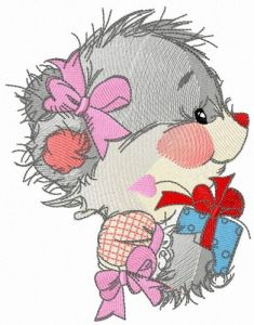Teddy bear's birthday present embroidery design