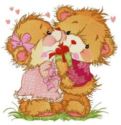 Teddy bears dancing embroidery design