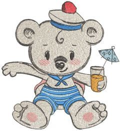 Teddy bear drinks juice embroidery design