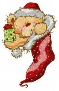 Teddy in Christmas sock 2 embroidery design
