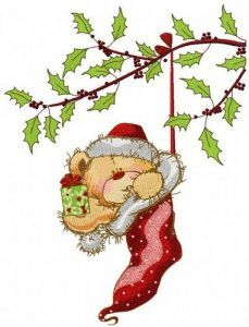 Teddy in Christmas sock embroidery design