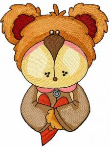 Teddy my heart embroidery design