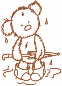 Teddy Bear rainy day embroidery design