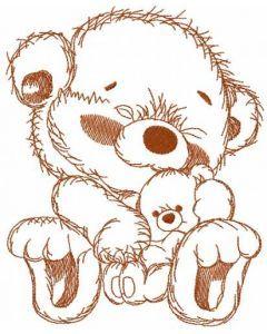 Teddy with teddy embroidery design