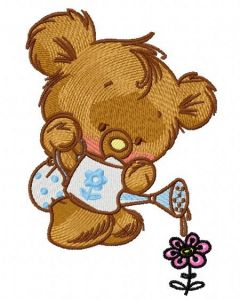 Teddy with watering can 2 embroidery design