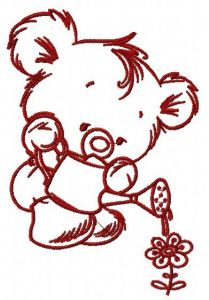 Teddy with watering can 3 embroidery design