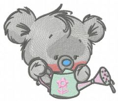 Teddy with watering can 4 embroidery design