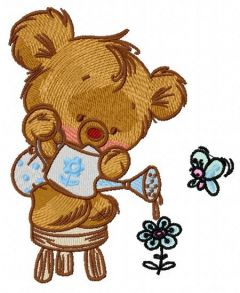 Teddy with watering can embroidery design