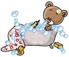 Teddy's bath time 2 embroidery design