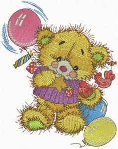 Teddy's birthday embroidery design