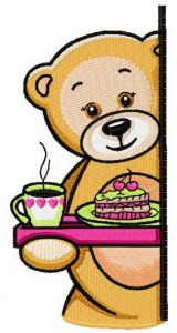Teddy's tea time 3 embroidery design