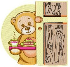 Teddy's tea time embroidery design