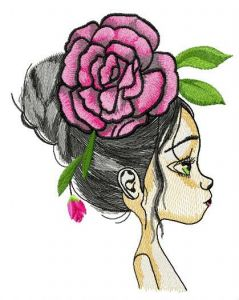 Teen with huge peony hair decoration embroidery design