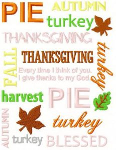 Thanksgiving Day mix free machine embroidery design