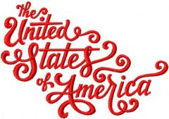 The United States of America script embroidery design