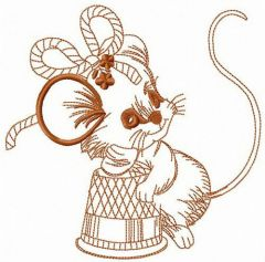 Thoughtful mouse embroidery design
