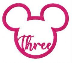 Three Mickey Mouse embroidery design
