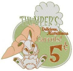 Thumper's carrots embroidery design