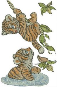 Tiger cubs playing in jungle embroidery design