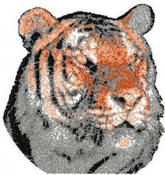 Tiger color photo stitch embroidery design