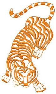 Tiger hunting embroidery design