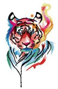 Tiger in my mind embroidery design