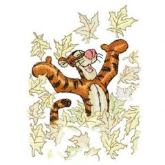 Tigger and autumn embroidery design