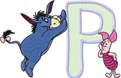 Eeyore and Piglet Alphabet Letter P embroidery design