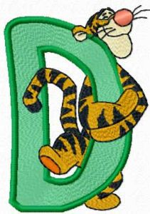 Tigger letter D embroidery design