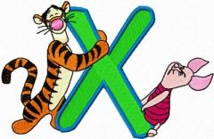 Tigger and Piglet letter X embroidery design