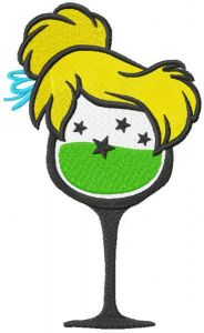 Tinkerbell glass embroidery design