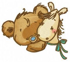 Tiny bear with pony toy 3 embroidery design