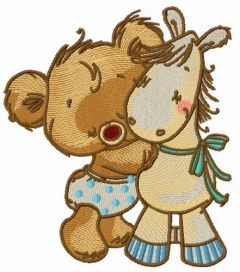 Tiny bear with pony toy embroidery design