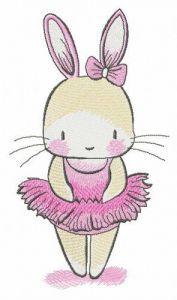 Tiny bunny ballerina embroidery design
