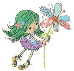 Tiny girl with magic flower embroidery design